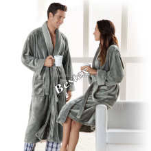 Winter Warm Sleeve Microfiber Coral Fleece adult Couple wholesale bathrobe