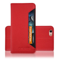 C&T Red Wallet Case PU Leather Folio Protective Shell TPU Inner Back Cover with Card Slots for iPhone 7