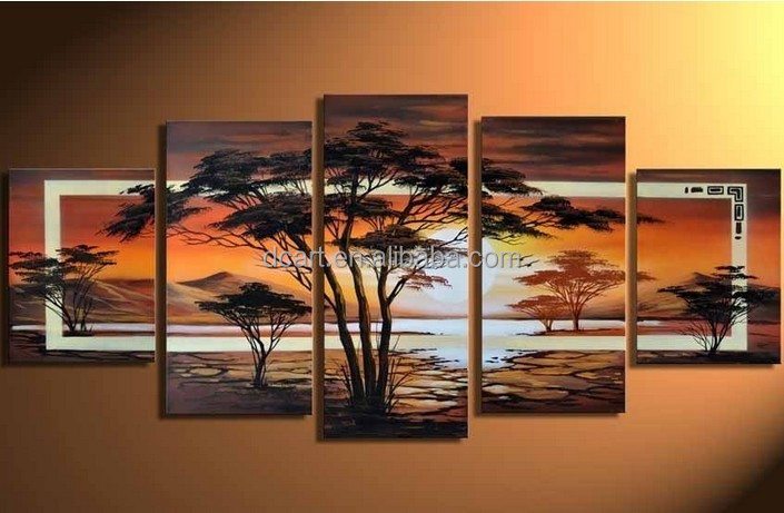 High quality hand-made 5 pieces modern group oil painting for wall decoration