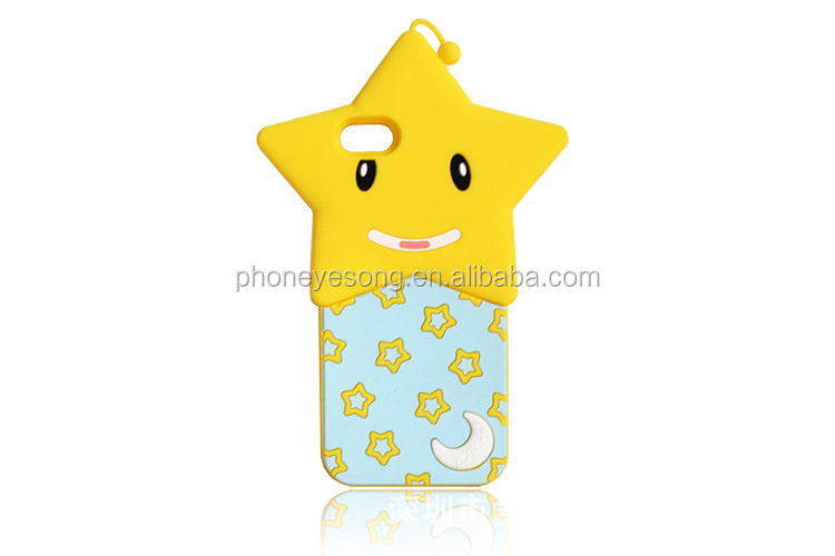 Cute Silicon mobile phone case,for iphone 5 5s 3D star cover
