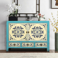 three drawer two door chinese antique style furniture hand painting living room cabinet