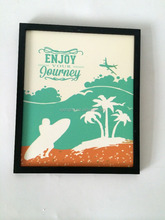 beach style wooden frame art board wall hanging decoration