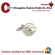 cufflink manufacturer custom studded dice fashion silver replica cufflinks