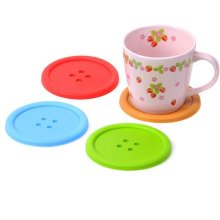 Colorful Cute Non-skid Heat Insulation Silicone Button Coasters Cup Mat heat resistant silicone mat