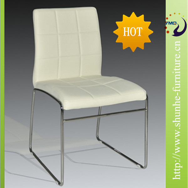 Fashionable Europe style cream leather dining chairs