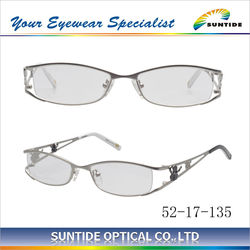 Latest design eyewear frames fashion silver color lady use stainless lady eyewear frames (S4019)