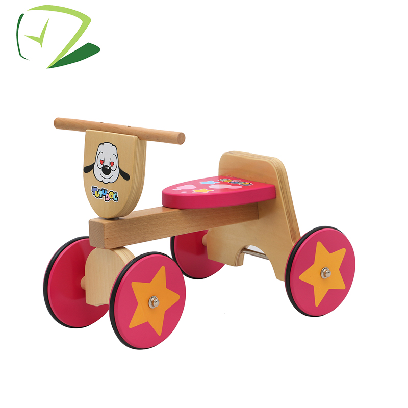 Beech material 4 wood wheels pink balance bike wooden bicycle for children