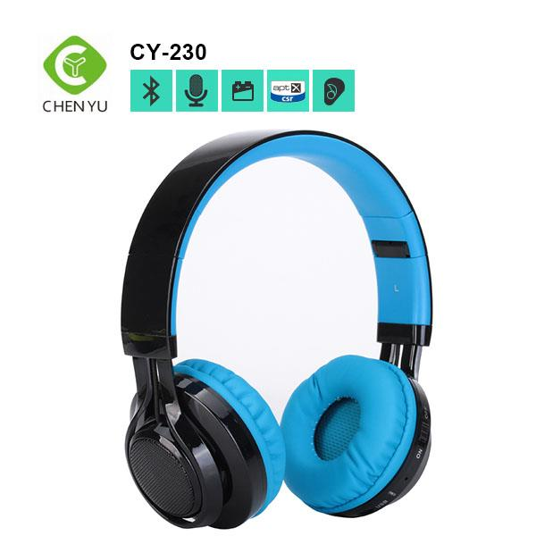 2017 High sound quality bass wireless bluetooth headphones support memory card 3.5mm jack removable cable