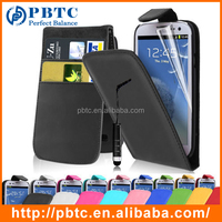 Set Screen Protector Stylus And Case , Leather Wallet Case For Samsung Galaxy S3 I9300
