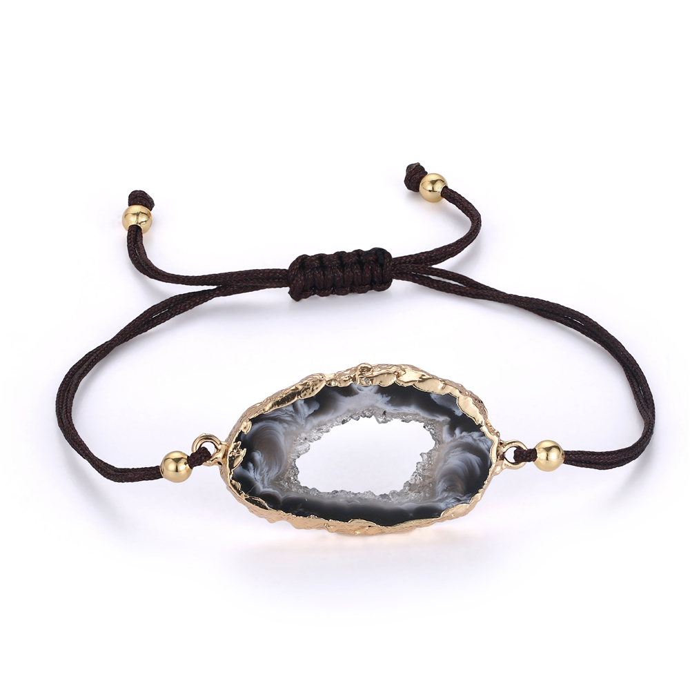 Natural agate chalcedony geode gold plated fashion DIY hand knitting adjustable bracelet bangle jewelry