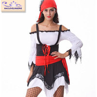 Maclove Adult Jagged Hemline Sexy Halloween Ladies Pirate Costume