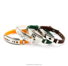 Cool thick rubber band bracelets, silicon metal links bangle GJB077