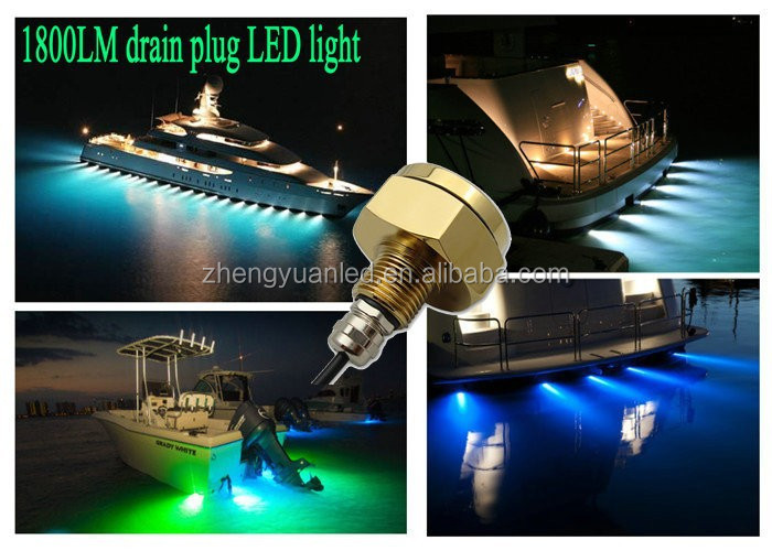 Blue IP68 Waterproof Rate 9 LEDs 27W Brightness Underwater Light Boat Drain Plug Light With 1800 180 Viewing Angle For Fishing