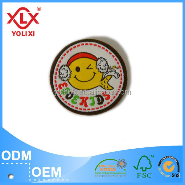Custom high quality woven badge / Smiley badges