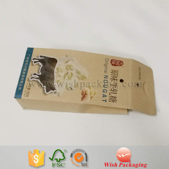Biodegradable package material window paper box for Dried beef candy