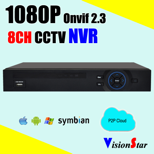Vision Star 8CH 1080P Motion sensor p2p onvif NVR Dealing with XM system for CCTV IP Camera Use