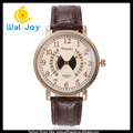 WJ-5288 with calendar personality hollow leather design fashion quartz men casual wrist watch