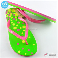 Guangzhou wholesale custom printed eva slippers fashion dot flip flops