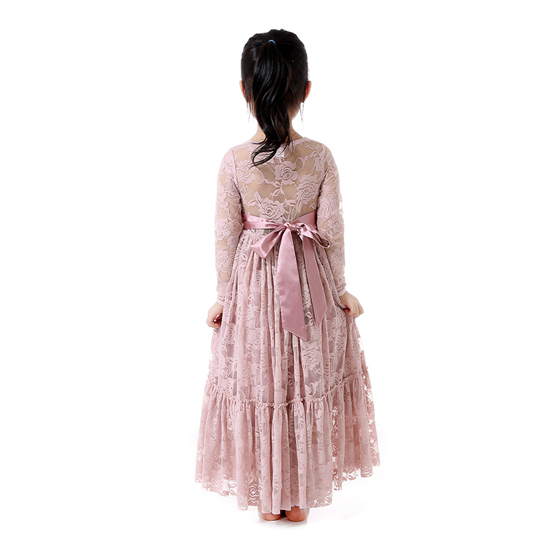 Wholesale customkid fashion clothes girls formal dresses rose lace fashion long sleeve dress