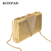 KW0111 golden Clutch for Women Large Evening Bag With Chain Strap