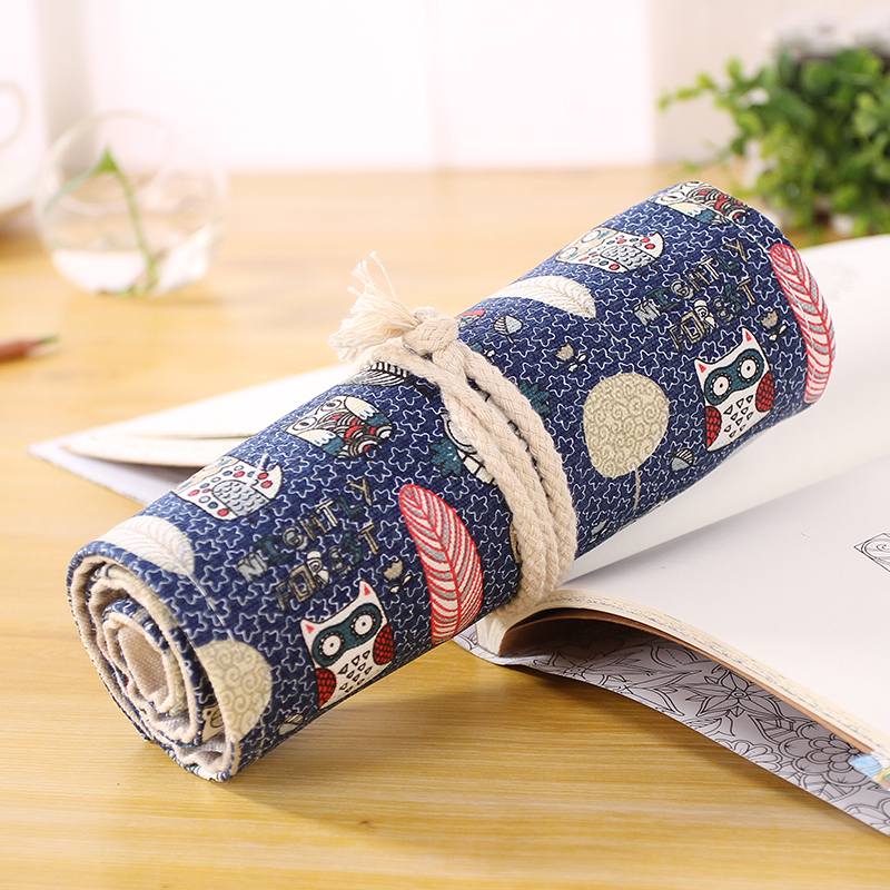 New Creative 36 Holes Cute Owl Canvas Rolling Up Drawing Fancy Pencil Case