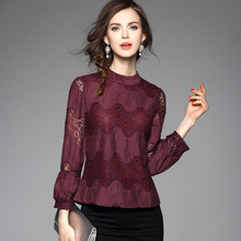 New 2016 Summer Fashion Women Crop Tops Pearl Button Lace Blouses Elegant Long Sleeve Stand Collar Hollow Out Blouse Designs