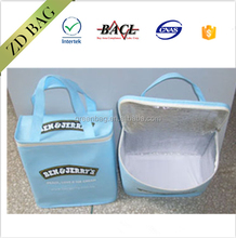 blank pp non woven cooler bag for ice cream with strap