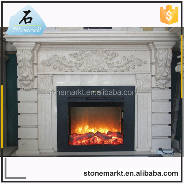 Modern style cultured pure white marble insert wall mounted fireplace mantel