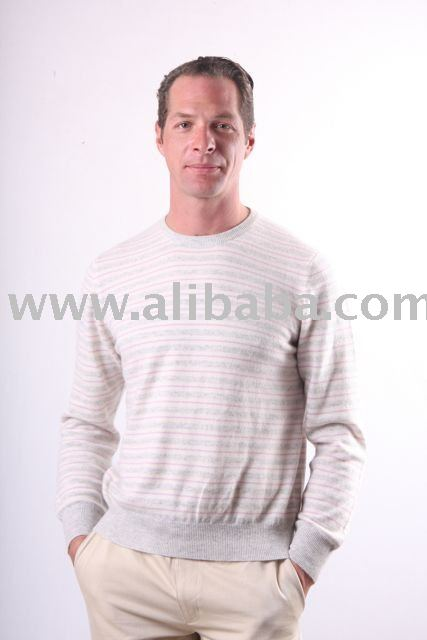 Cashmere Wool Striped Round Neck Sweater from Nepal