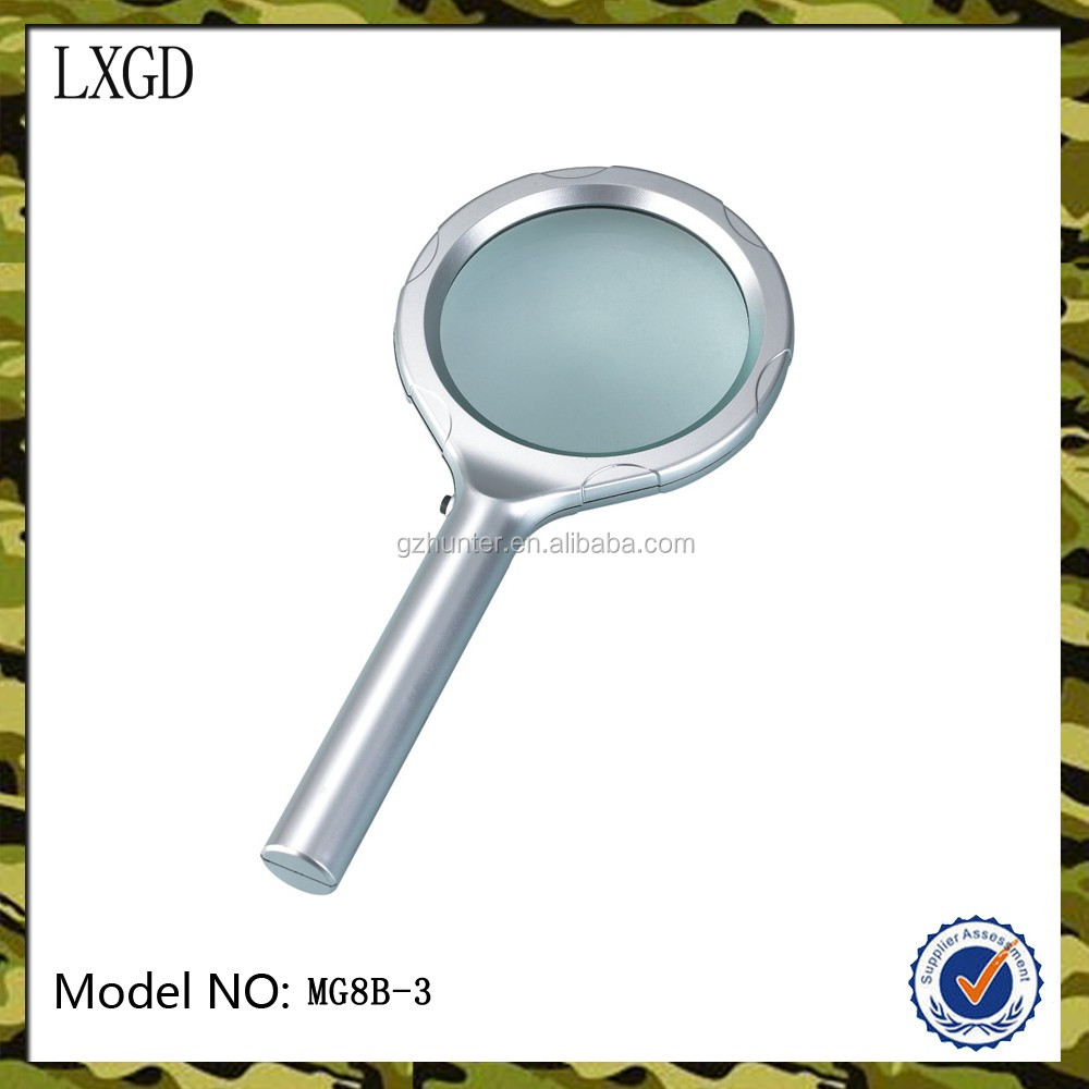 MG8B-3 dom handheld magnifying LED glass promotional plastic magnifier