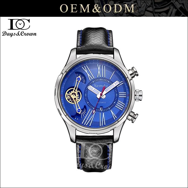OEM Factory stainless steel case watch luxury tourbillon watch with Italy leather