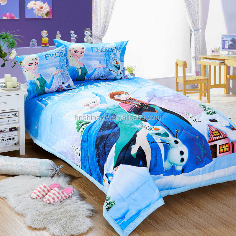 Premium 120gsm 100% polyester filling kids Frozen 3D cartoon bed comforter set