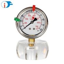 "3.5"" Long Service Life 4.0 Grade Bourdon Flange Mount Water Pressure Meter Gauges"