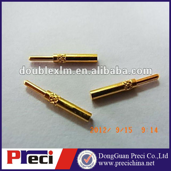 M12 male brass gold plated electronic computer contactor pin