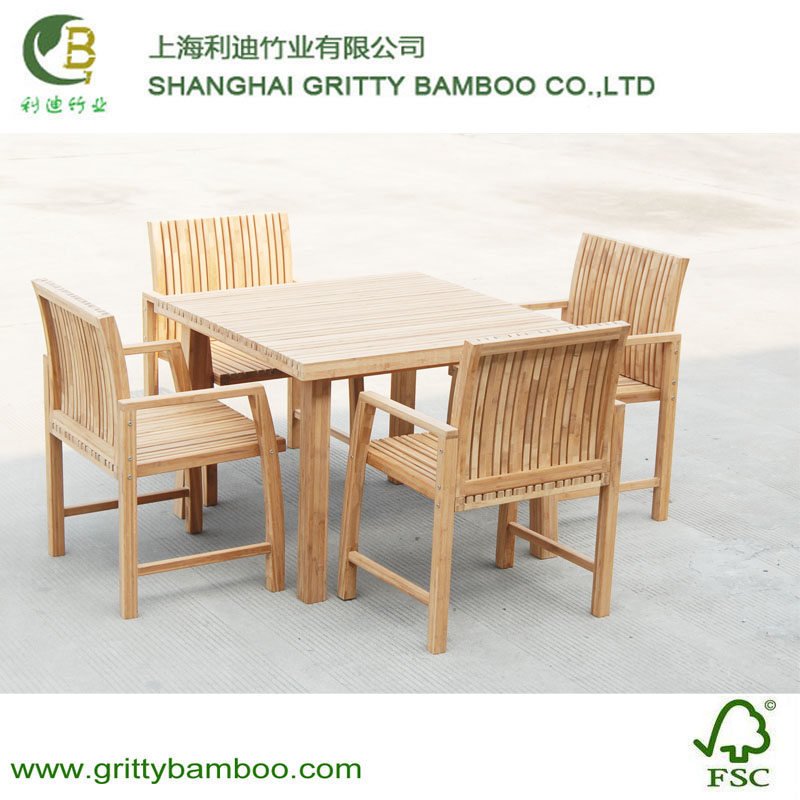 Outdoor Square Bamboo Garden Furniture Set For Chair and Table