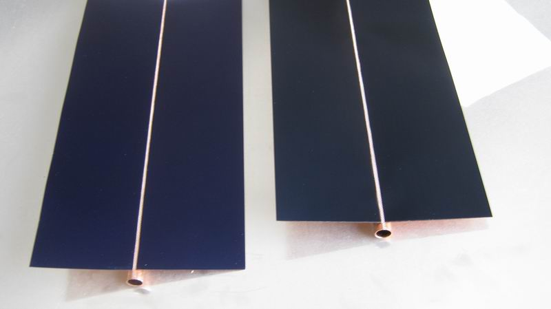 Solar collector absorber fin with selective black chrome coating/solar panel copper fins