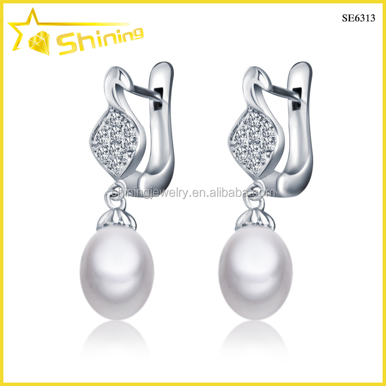 bridal jewelry women white gold natural pearl sterling silver pearl earrings