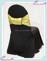 YHS#524 satin sash with butterfly pin polyester banquet wedding wholesale chair cover sash bow