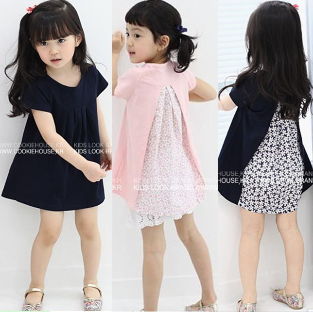 2015 Summer Fashion Design Flower Pattern Children Girl Dress