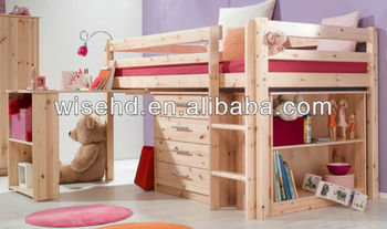 ( WJZ-B23 ) solid pine wood kids bunk bed