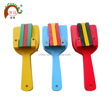 promotional colored natural wooden castanet musical toy