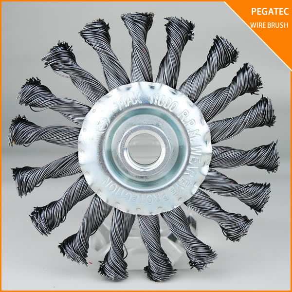 PEGATEC 125x26MM TWISTED KNOT STEEL WIRE BRUSHES WITH THREAD FOR RUST AND PAINT