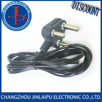 India power cord 3 round plugs swivel power cord