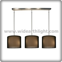 UL Listed Hotel 3 Light Pendant Lamp With Black Fabric Shades For Indoor C50237