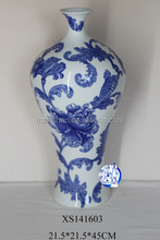 blue and white porcelain ceramic vase with flower hand painted