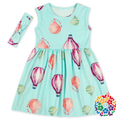 Hot Air Balloons Prints Summer Child Formal Dress Set With Headband Boutique Girls Dresses Baby Frock Design Pictures