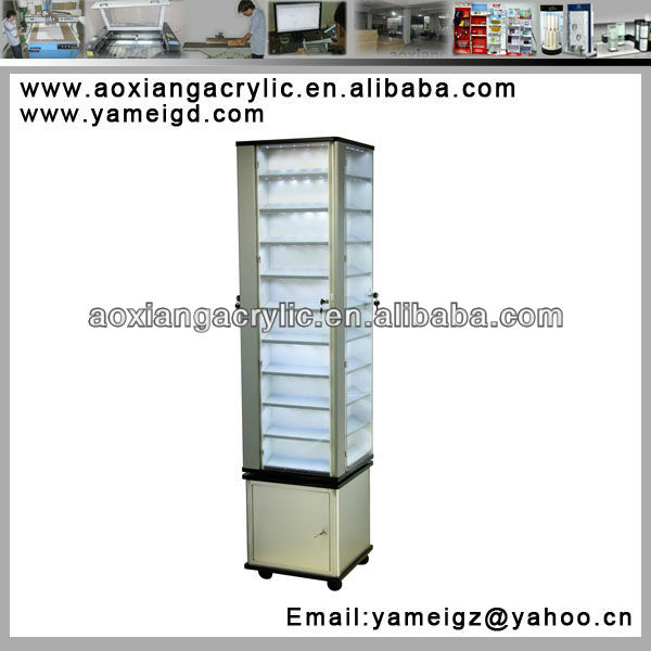 new design free style acrylic display rack with light with rotatable base