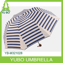 Promotional white and blue stripe manual open 3 fold umbrella
