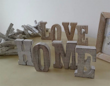 Rustic White Washed Free Standing Wooden Letters Plaque