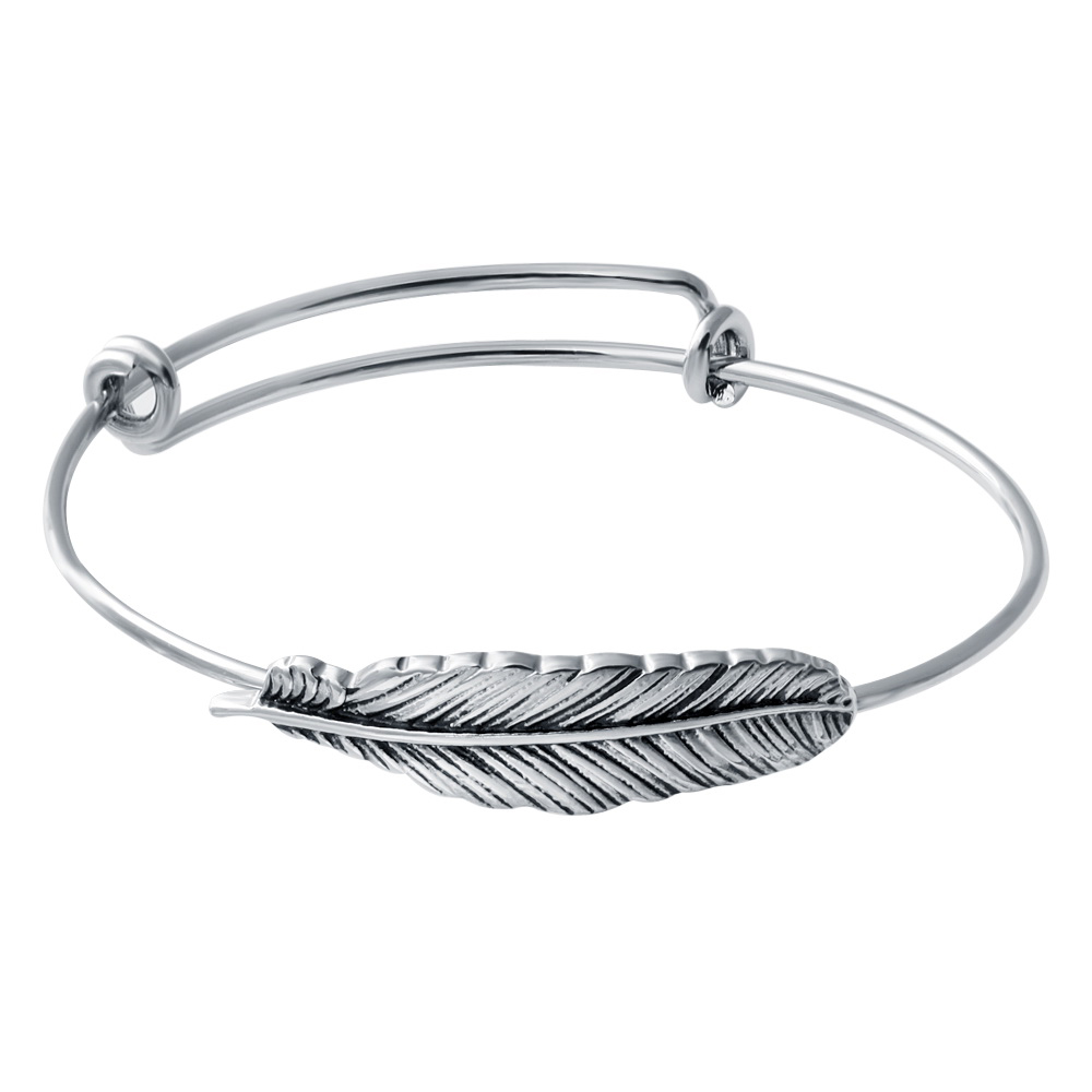 Wholesale Designer Inspired Jewelry Silver Plated Simple Wiring Feather Expandable Bangle Bracelets